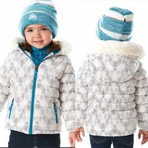 NWT Snozu Mosaic White Print Winter Puffer Coat 2T